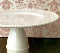 Milk Glass Cake Stand / Vintage Cake Plate / Dessert Pedestal / Cake Pop Stand for Cake Pops Cake Balls /  Milk Glass Pearls / Wedding Gift on Etsy, $100.00