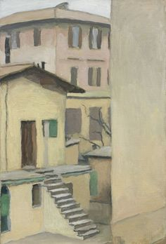 Giorgio Morandi (Italian, 1890-1964), Cortile di Via Fondazza, 1954. Oil on canvas, 60.3 x 40.7 cm.