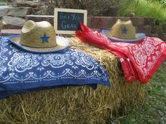 bandanas and child sized cowboy hats (and chalk board) from orientaltrading.com  #farmparty #birthday favors
