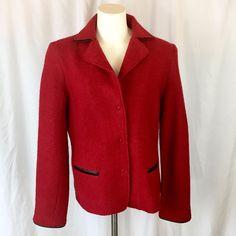 HILARY RADLEY Red Boiled Textured Wool Jacket blazer faux leather trim Sz Large  | eBay Radley, Fashion Deals, Blazer Jacket, Online Price, Wool, Best Deals, Red, Leather, Jackets