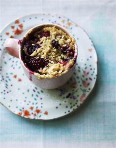 Topped with a sweet crunchy streusel, this berry and almond mug cake is ready in a flash.