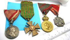 WWI Military German Austria France Medals with Ribbons 1914-1918 WW1