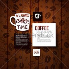 あなたのコーヒー ショップ デザイン テンプレートです。コーヒー豆と燃やされた木製の背景。ベクトル画像。