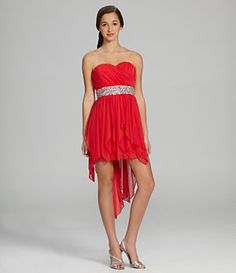 Sequin Hearts Strapless Hi-Low Dress