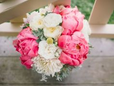 Hot Pink Peonies! Pretty bridal bouquet by Floralisa, East Bay, California.