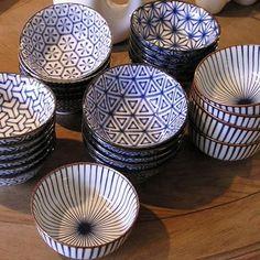 potterie blanc et bleu - bols