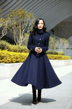 Navy coat, Etsy