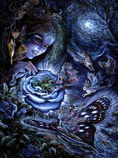 Fantasy Greeting Cards | Josephine Wall - Fantasy in Blue - Birthday Greeting Card