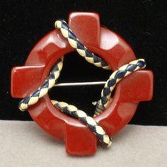 Nautical Lifesaver Pin Bakelite and Leather Lanyard Vintage Brooch | eBay