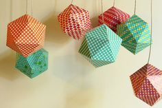 Christmas balls made with patterned paper. Christmas