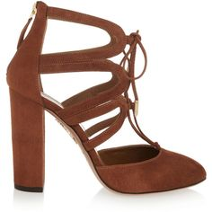 Aquazzura Holli cutout suede pumps (43,010 MKD) ❤ liked on Polyvore featuring shoes, pumps, heels, aquazzura, brown, brown shoes, almond toe pumps, brown lace up shoes, heels & pumps e aquazzura shoes
