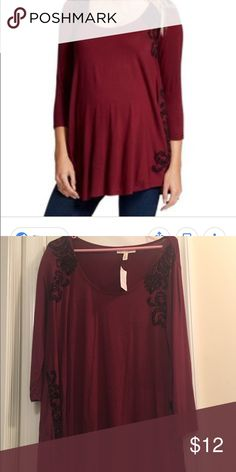 37b27af2357943 Jessica Simpson Maroon Embroidered Top XL Brand new with tags Jessica  Simpson brand top purchased from Motherhood Maternity. Maroon with black  embroidered ...