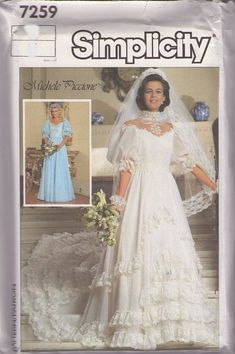 MOMSPatterns Vintage Sewing Patterns - Simplicity 7259 Vintage 80's Sewing Pattern INCREDIBLE Designer Michele Piccione Tiered Ruffles & Lace Victorian Southern Belle Wedding Gown, Formal Dress Size 8
