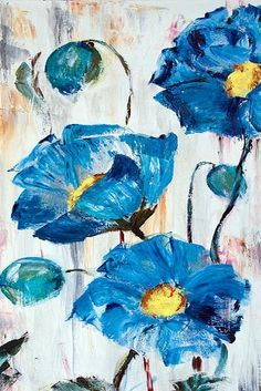 Blue flowers I like the brush strokes and rough textures