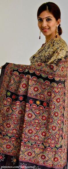 Batik with Kantha work - ethnicshack
