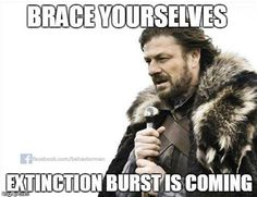 EXTINCTION BURST!!! It is extremely important to understand that while using extinction to decrease the occurence of a behavior, it may result in a temporary INCREASE of the behavior prior to its eventual decrease.