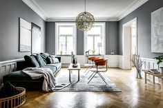 Living room with blue/grey walls