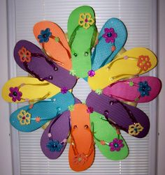 Summer Fun Wreath I made with Flip Flops. 2014