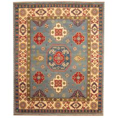 Herat Oriental Indo Hand-knotted Tribal Kazak Light Blue/ Ivory Wool Rug (8' x 10') | Overstock.com Shopping - The Best Deals on 7x9 - 10x14 Rugs