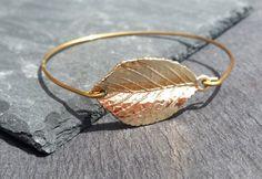 14k Gold Leaf Bangle Bracelet    Gold Leaf Bracelet   Leaf Bangle    14k Gold Bangle bracelet   Gold Jewelry   Leaf Jewelry   Simple Bangle