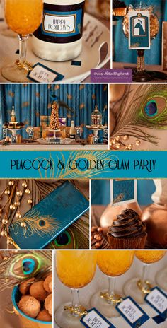 Retro Party Peacock Party Golden Glam Party by HelloMySweet 1920s Party, Gatsby Party, I Party, Party Time, Table Party, Party Ideas, Gold Party, 30th Birthday Parties, Party