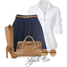 Skirt outfit, Azul marino, Blanco y Caki, Botas, Lentes.