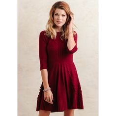 Ruche Hot Chocolate Sweater Dress In Burgundy ($59) ❤ liked on Polyvore featuring dresses, burgundy, night out dresses, burgundy skater skirt, burgundy dress, skater skirt and 3/4 sleeve dress