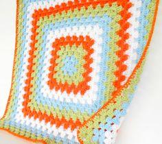 Blue Green Orange Crochet Baby Blanket - Granny Square Crochet Baby Blanket Afghan -  nursery photo prop newborn blanket