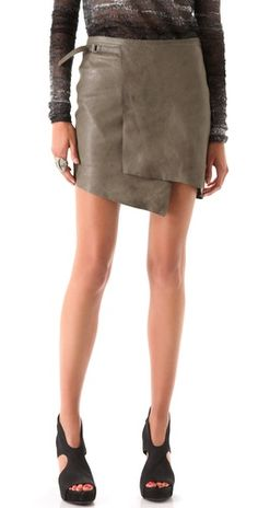 This Helmut Lang grey leather skirt wants to be mine.