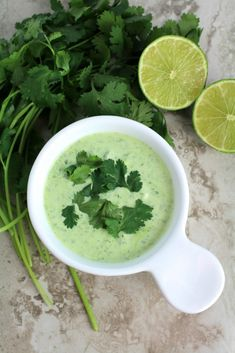 Looking to dress up your dinner? This creamy Healthy Cilantro Lime Sauce goes perfectly on just about anything! Gluten free, low carb and delicious!