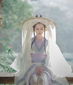 Lavender, Blue and White Hanfu Gown with Traveling Hat