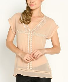 This Taupe & White Sheer Embroidered V-Neck Top by Marineblu is perfect! #zulilyfinds