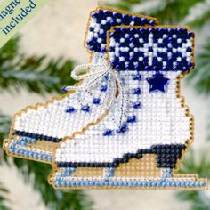 Ice Skates - Winter Holiday - Cross Stitch Kit Ice Skates - Winter Holiday 2009 - Mill Hill Counted Glass Bead Christmas Ornament Kit with Treasure Xmas Cross Stitch, Beaded Cross Stitch, Cross Stitch Kits, Cross Stitching, Cross Stitch Embroidery, Embroidery Patterns, Cross Stitch Patterns, Beaded Christmas Ornaments, Christmas Cross