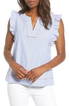 New vineyard vines Stripe Flutter Sleeve Top Best Seller Womens fashion clothing. offers on top store Girls Fashion Clothes, Fashion Outfits, Clothes For Women, Womens Fashion, Sewing Blouses, Stylish Tops, Flutter Sleeve Top, Refashion, Pretty Outfits