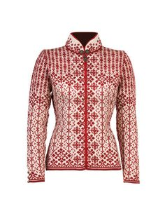 Dale of Norway Woman`s Kara Cardigan in RED. Velvet trim. Real pewter buttons, collar clasp and zipper pull. Classic Norwegian patterns. Made 100% in Norway.