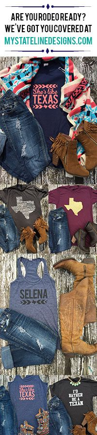 "Looking for a cute tee or tank for a rodeo or country concert? Look no further. We have all your rodeo outfits ready!!! Shop mystatelinedesigns.com Free Shipping on orders of $75 or more with code ""freeship75""."