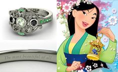 "Mulan, ""The Most Beautiful Of All.."" $1,689  The round green amethyst and black diamonds set in the 14k white gold engagement ring represents power and spirituality. The jewelers, Gemvara, also embedded small emeralds on the sides of the band for fertility."