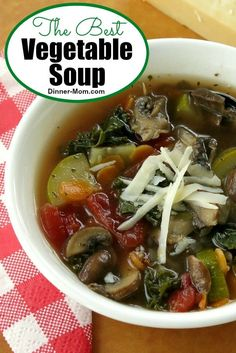The Best Vegetable Soup is homemade and full of fresh vegetables. Make up a big batch and freeze in single serve containers to serve with lunch and dinner! #vegetablesoup #souprecipe
