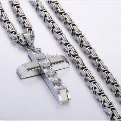 Hand Crafted Iced Out Cross Pendant Necklace in Gold or Silver   Etsy Stainless Steel Necklace, Stainless Steel Chain, Chains For Men, Gold Chains, Necklace Box, Pendant Necklace, Mens Crosses, Cross Pendant, Jewels