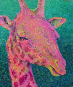colorful contemporary art pink green texture giraffe painting by Lisa Bohnwagner Giraffe Painting, Green Texture, Animal Paintings, Art For Sale, Pink And Green, Contemporary Art, Moose Art, Lisa, Wildlife