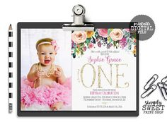 First One Girl Birthday Party Invite Invitation Photo Picture Floral Pink Gold Glitter Roses Flowers Watercolor Cute Sweet Fun Sunshine Glitter Roses, Gold Glitter, Birthday Celebration, Birthday Parties, 1st Birthday Girls, Birthday Ideas, First Girl, Birthday Party Invitations