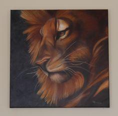 Leeuw. Gemaakt in olie. Afm 60 x 60 cm