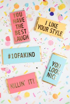 Compliment Candy Bars DIY | Oh Happy Day!    #diy #valentinesday
