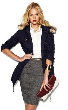 ERIN HEATHERTON FOR BLANCO F/W 2012 #parka & #pencilskirt #officewear