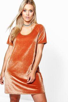 Plus Size Velvet Shift Dress