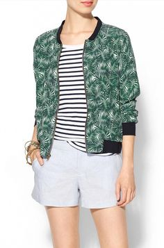 Jackets that cinch in at the bottom are ideal for a banana body shape. Amour Vert Art Bomber Jacket *$75)