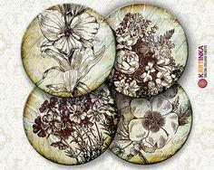 VINTAGE GRANGE FLOWERS  Digital Collage Sheet by KARTINKAshop, $4.50