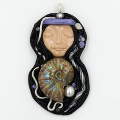 The Sea Queen Polymer Clay Pendant with Ammonite & Pearl