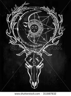 Beautiful Scull Tattoo Art. Vintage Deer Scull With Antlers And ...