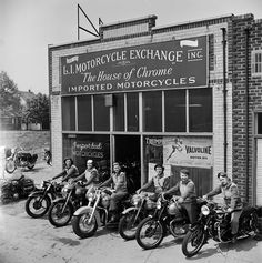 <> The Motor Maids of America outside the shop they used as their headquarters, 1950